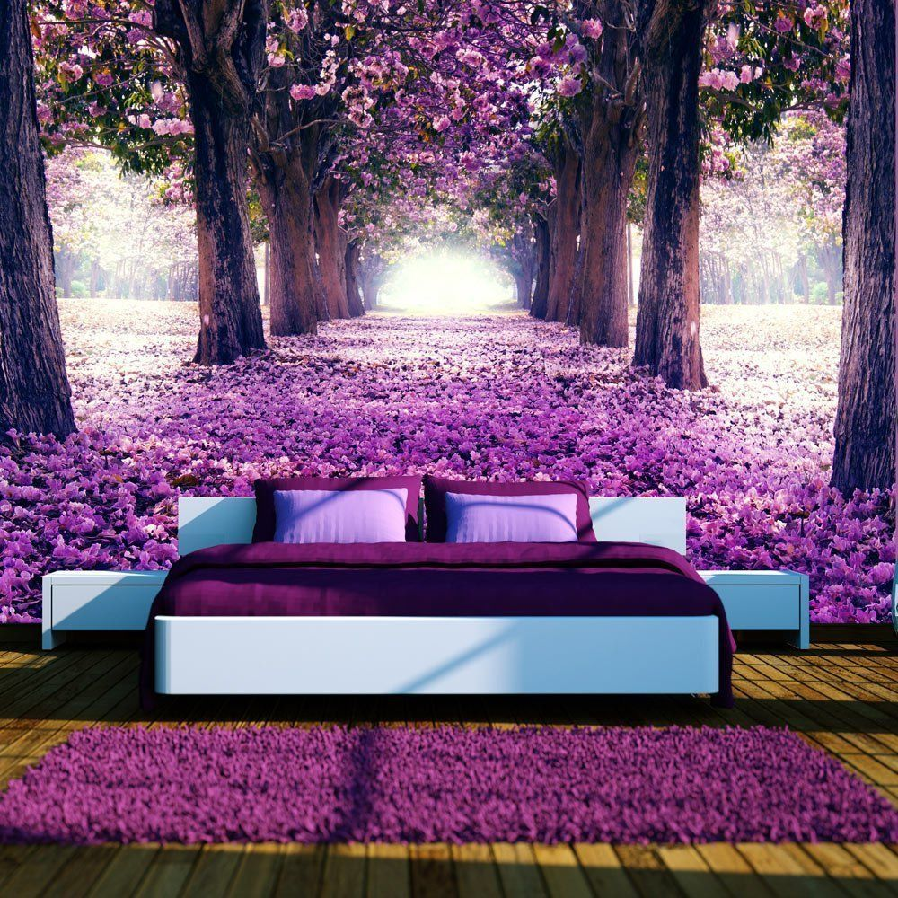 Details about Flower Road Tree Scenery Prepasted Wallpaper