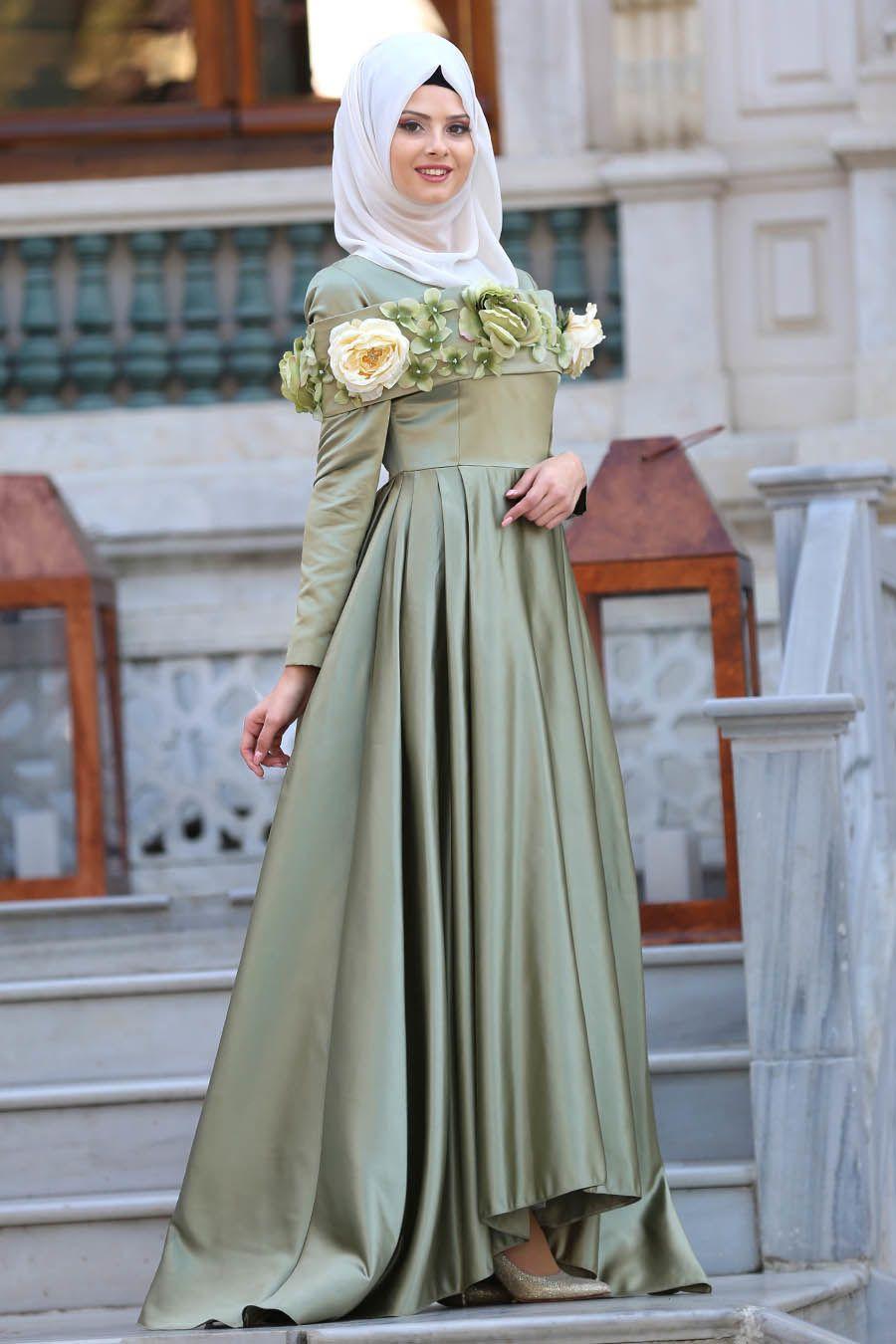 6a65ad46114cf Tuay - Çiçek Detaylı Fıstık Yeşili Tesettür Abiye Elbise 2388FY  #tesetturisland #tesettur #tesetturelbise