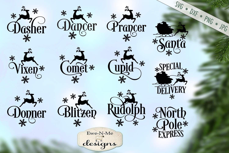 Reindeer Names Christmas Bundle North Pole Santa SVG