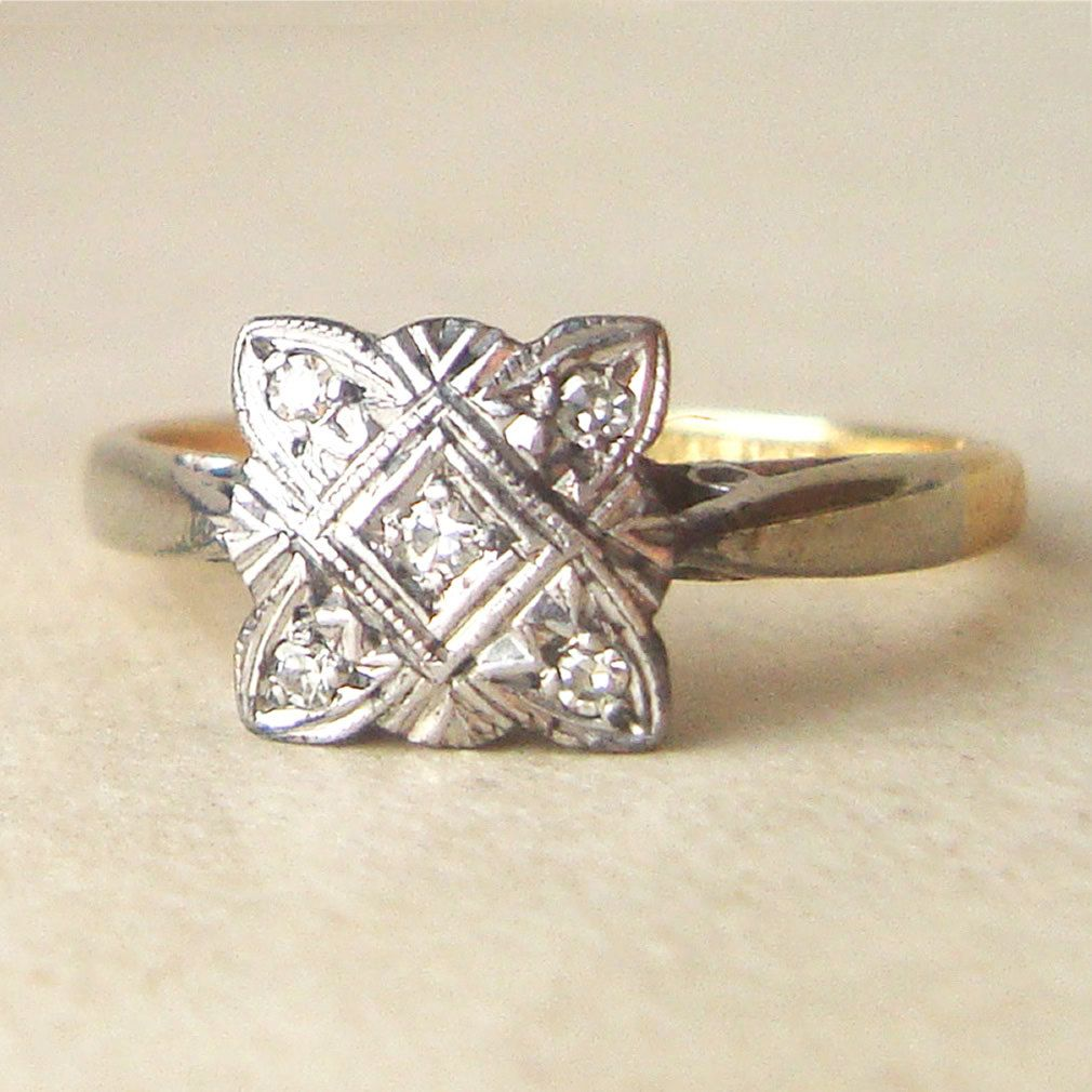 Square Art Deco Diamond Engagement Ring Antique Diamond Platinum