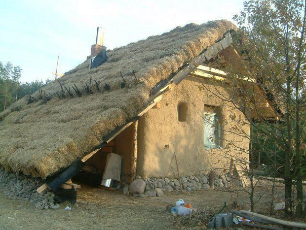 Interesting to have a straw roof as well, great insulation. Could definitely do something more creative with that low over-hang outside