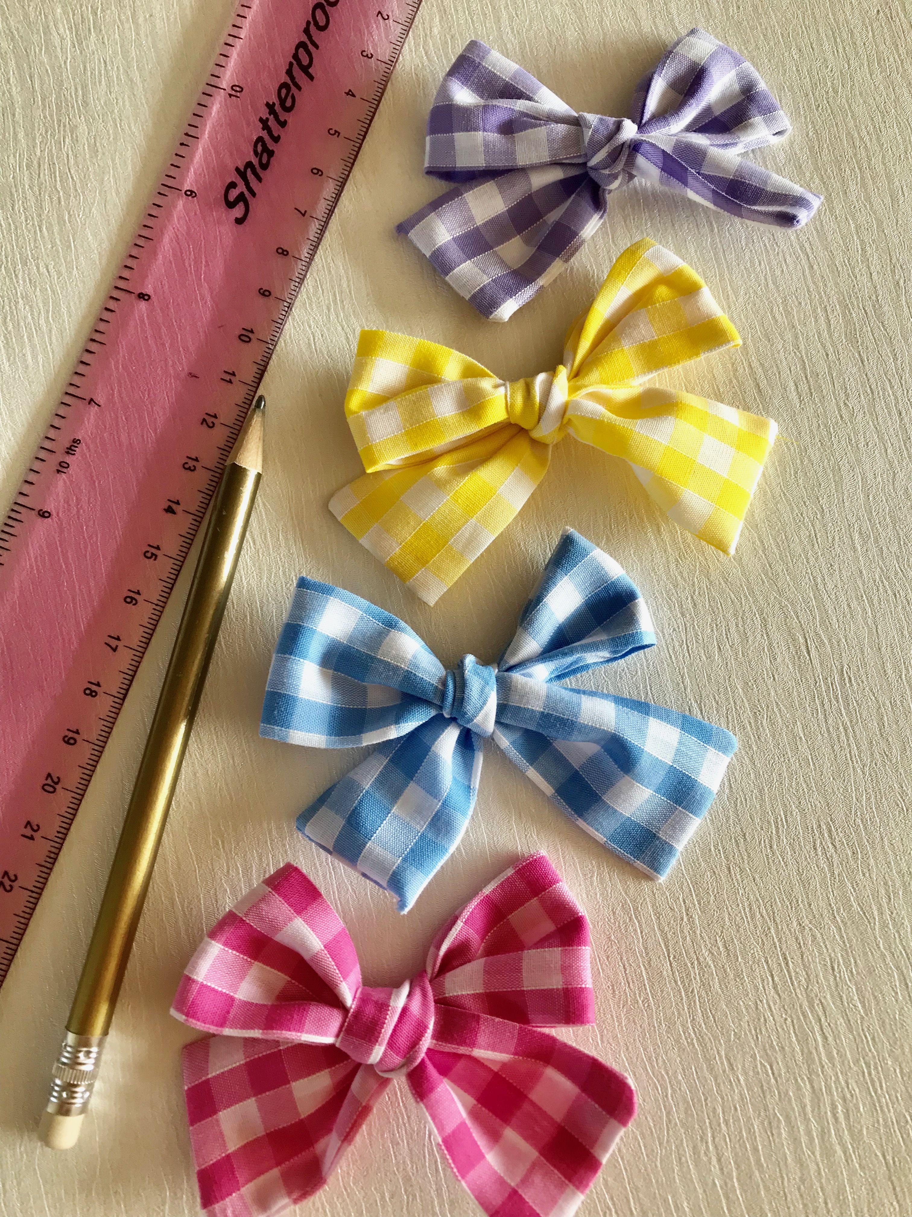 8cf7da6b9877 Gingham Plaid Hair Bows - handmade knitted hair bows. Available on one soft  headband or