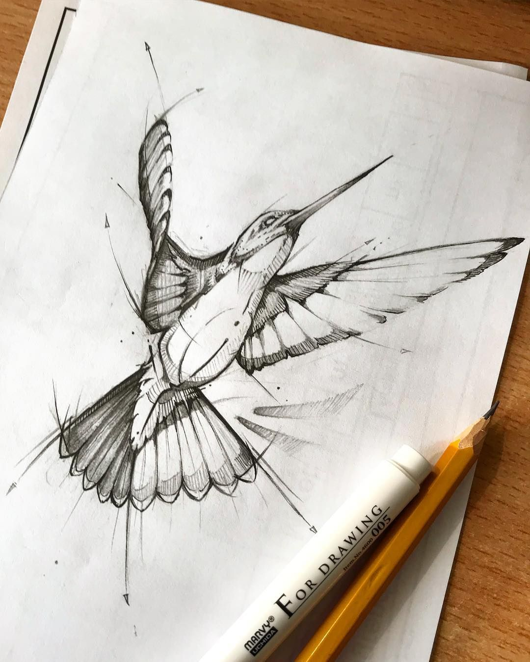 Hummingbird tattoo design sketch drawing pencil fineliner