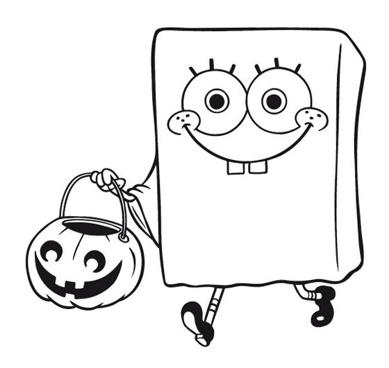 SPONGEBOB COLORING PAGE of Spongebob Squarepants dressed as a
