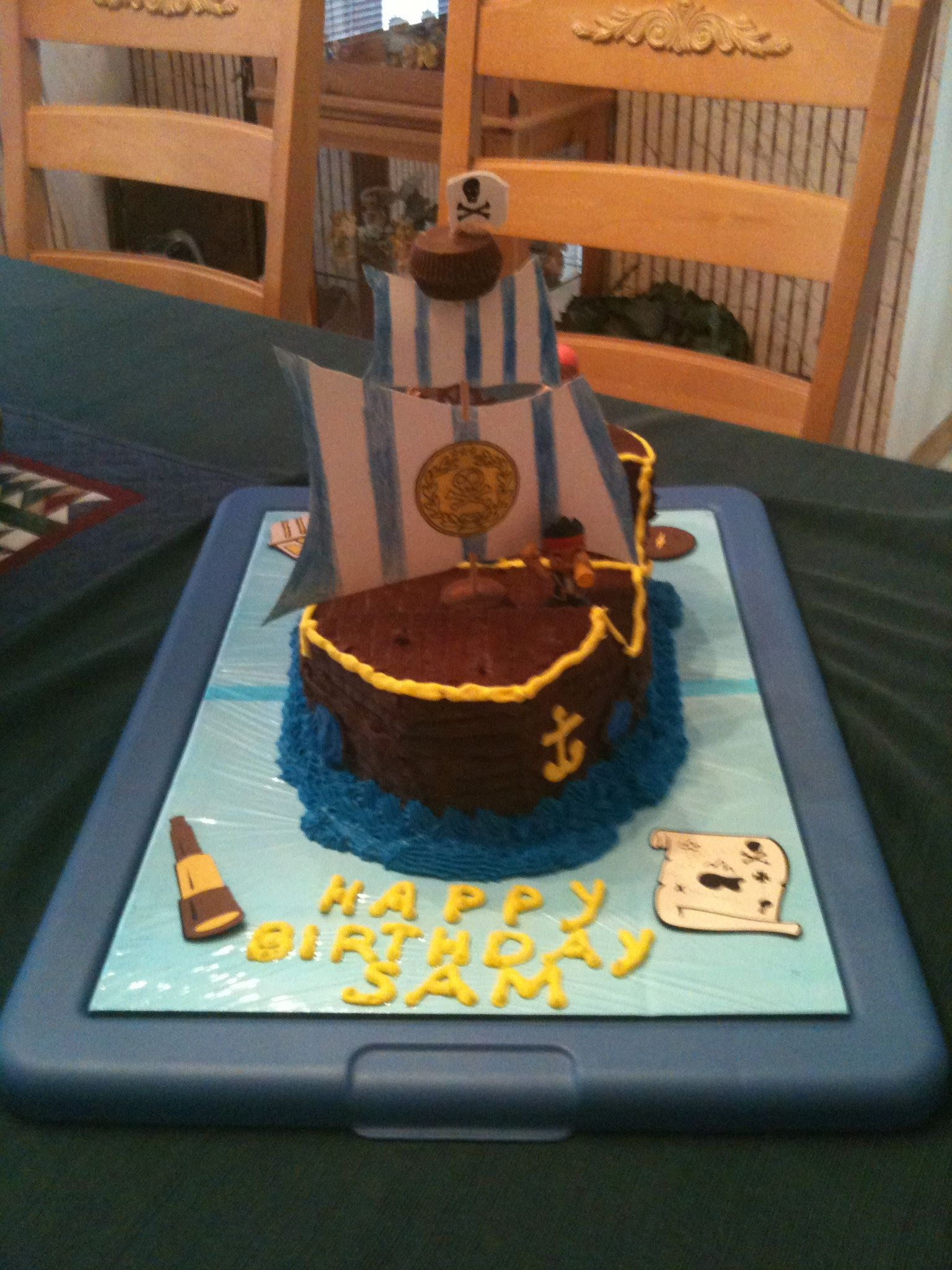 Had fun making bucky the pirate ship cake for my sons