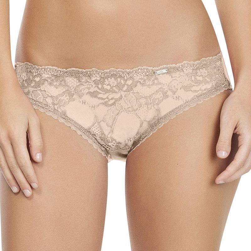 Affinitas Carrie Lace Bikini Panty A1133, Women's, Size: Small, Dark Beige