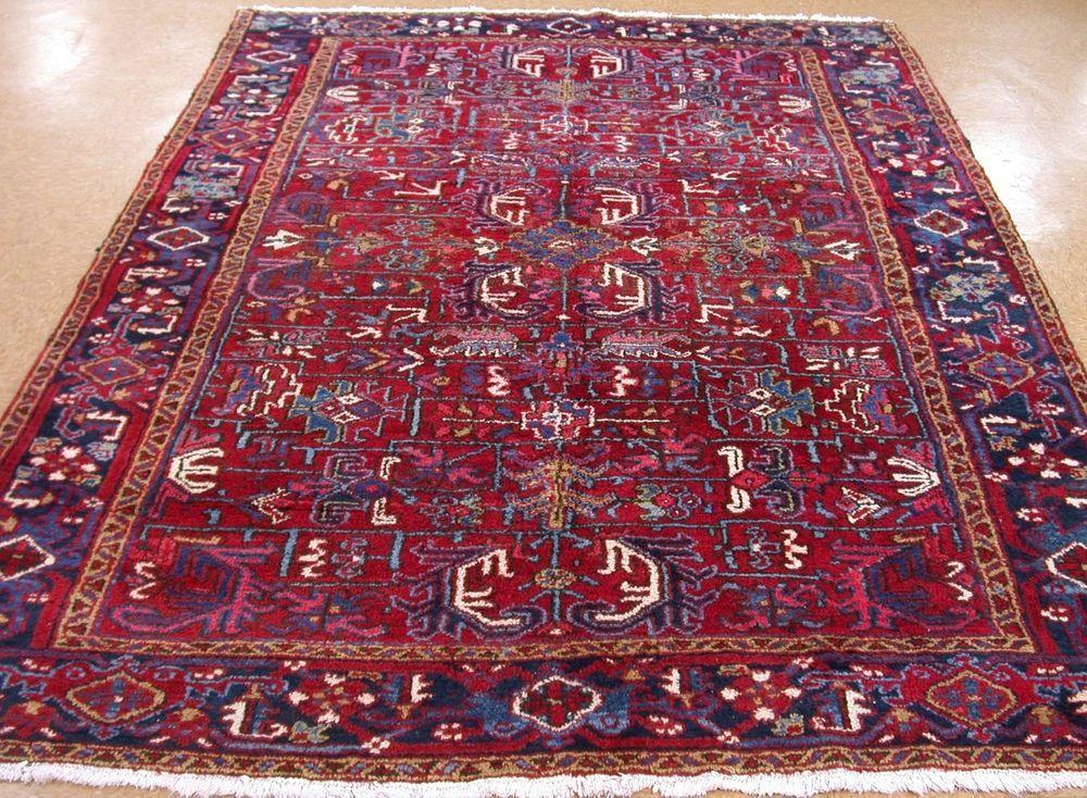 7 X 9 Persian Heriz Serapi Tribal Hand Knotted Wool Red Blue Oriental Rug Carpet Persianheriztribalgeometric