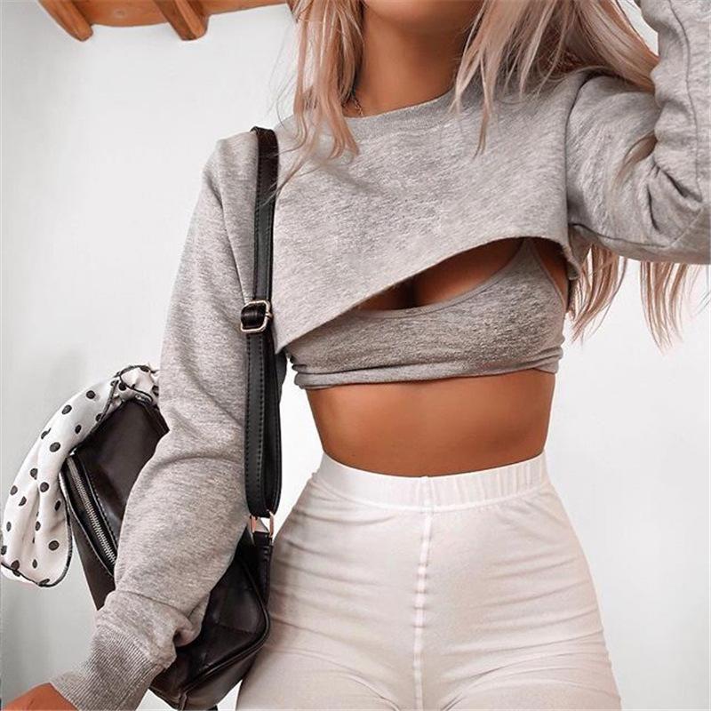 Top corto Kelsey – Gris / L  – Moda