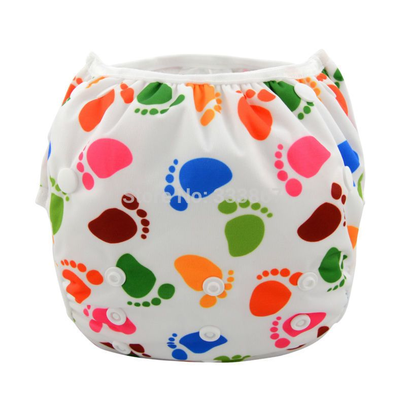 1 LARGE FOOTPRINT ALL IN ONE New Swim Diaper, Nappy Reusable Adjustable baby infant boy girl toddler, PUL, 18lbs-55lbs, 8kg-25kg