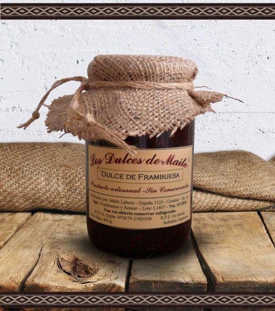 Los Dulces de Maite Dulce de Frambuesa Producto artesanal, sin conservantes. Peso Neto: 400 g. Industria Argentina