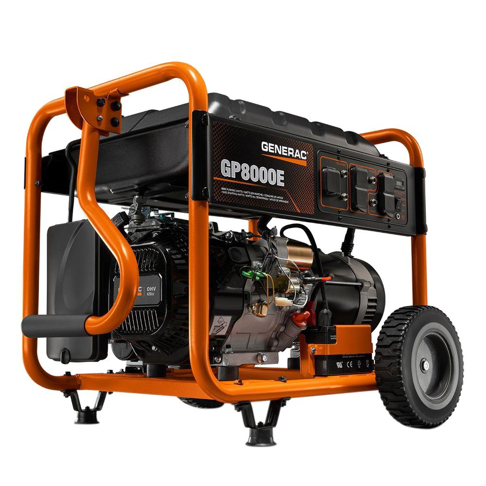 Generac 8 000 Watt Gasoline Powered Electric Start Portable Generator 6954 The Home Depot In 2020 Portable Generator Emergency Generator Portable Power Generator