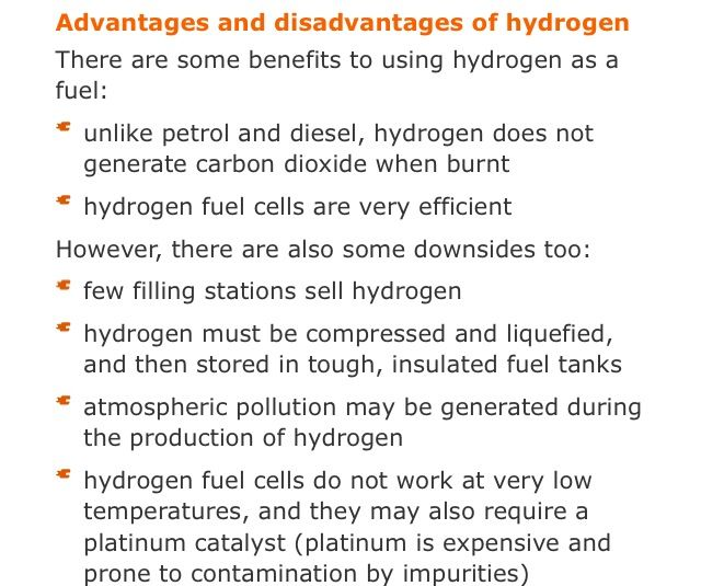 Advantages & disadvantages of using hydrogen as a fuel