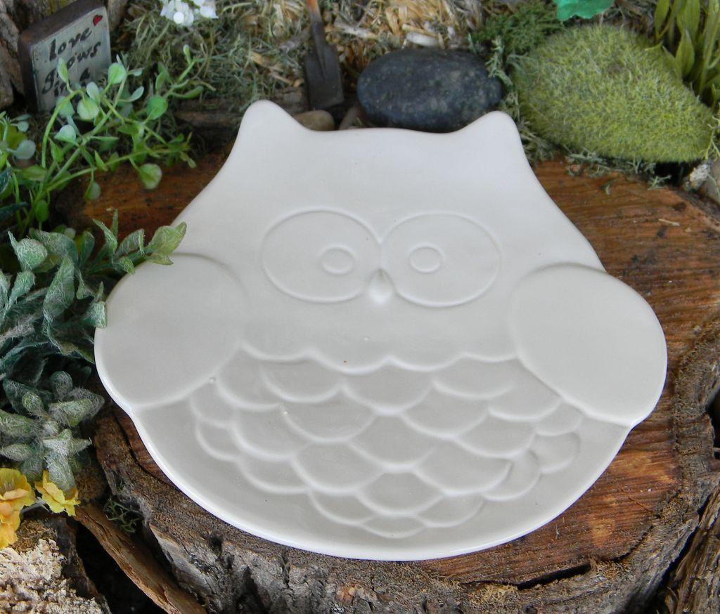 White ceramic plates for crafts - Owl Plate Platter Candle Holder White Ceramic Glazed Pottery Dish Wedding Shower Server Dish