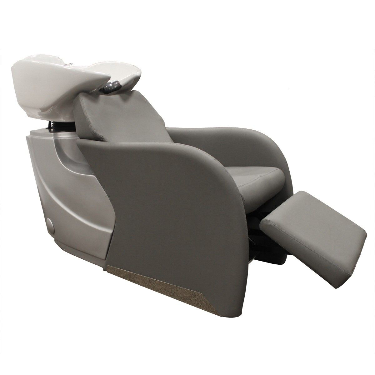Avery backwash shampoo system in gray with white bowl