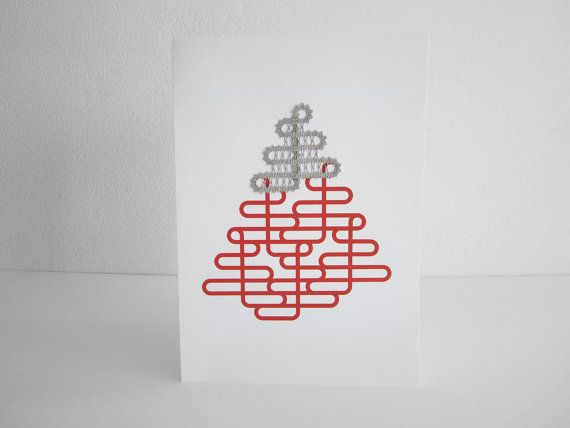 A5 Christmas Card with Lace  Bobbin Lace Christmas Tree  by A5lace