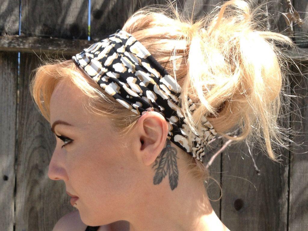 Headbands for Women, Extra Wide headband, Boho Hair wrap, Yoga Headbands, ,Black Headband, Adult Head wrap, Bandana headband by lavishstore on Etsy