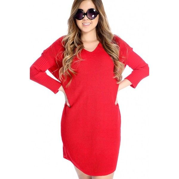 f4e18facc3d Red Long Sleeve V Neck Open Knit Oversized Sweater Dress (66 AUD) ❤ liked