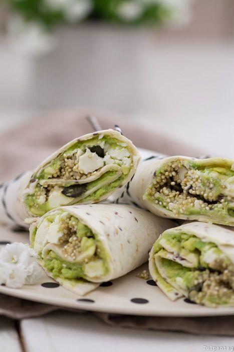 Photo of Vegetarian wraps with quinoa, feta and avocado – tulip day. Food blog.