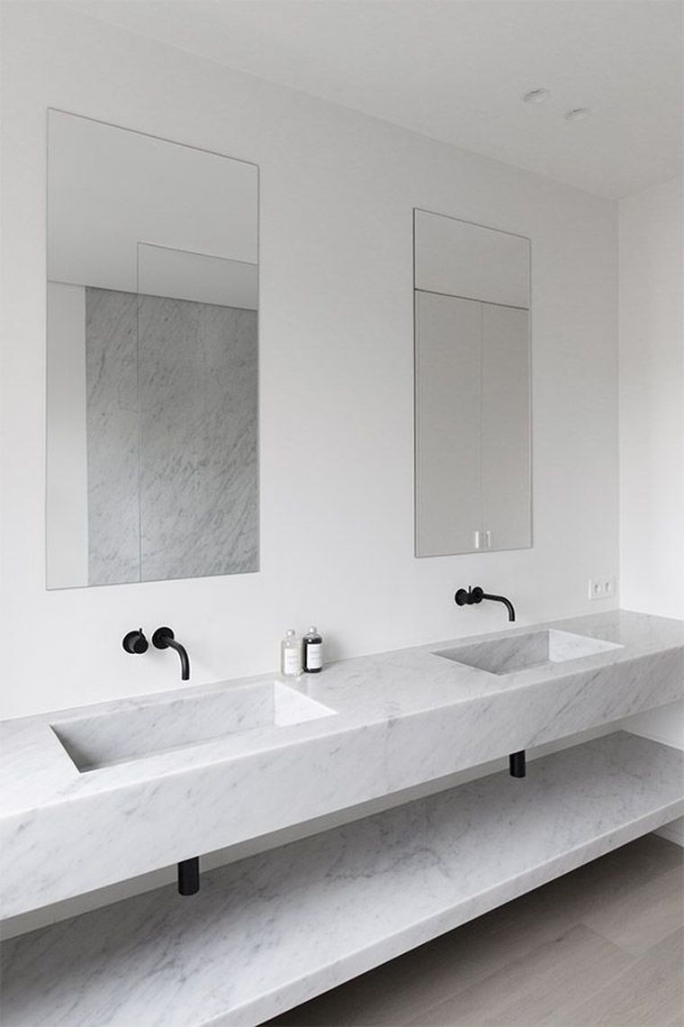 meuble salle de bain marbre blanc