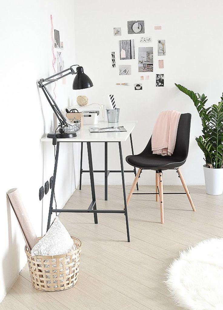 Black trestles on Ikea desk. | home office | Pinterest