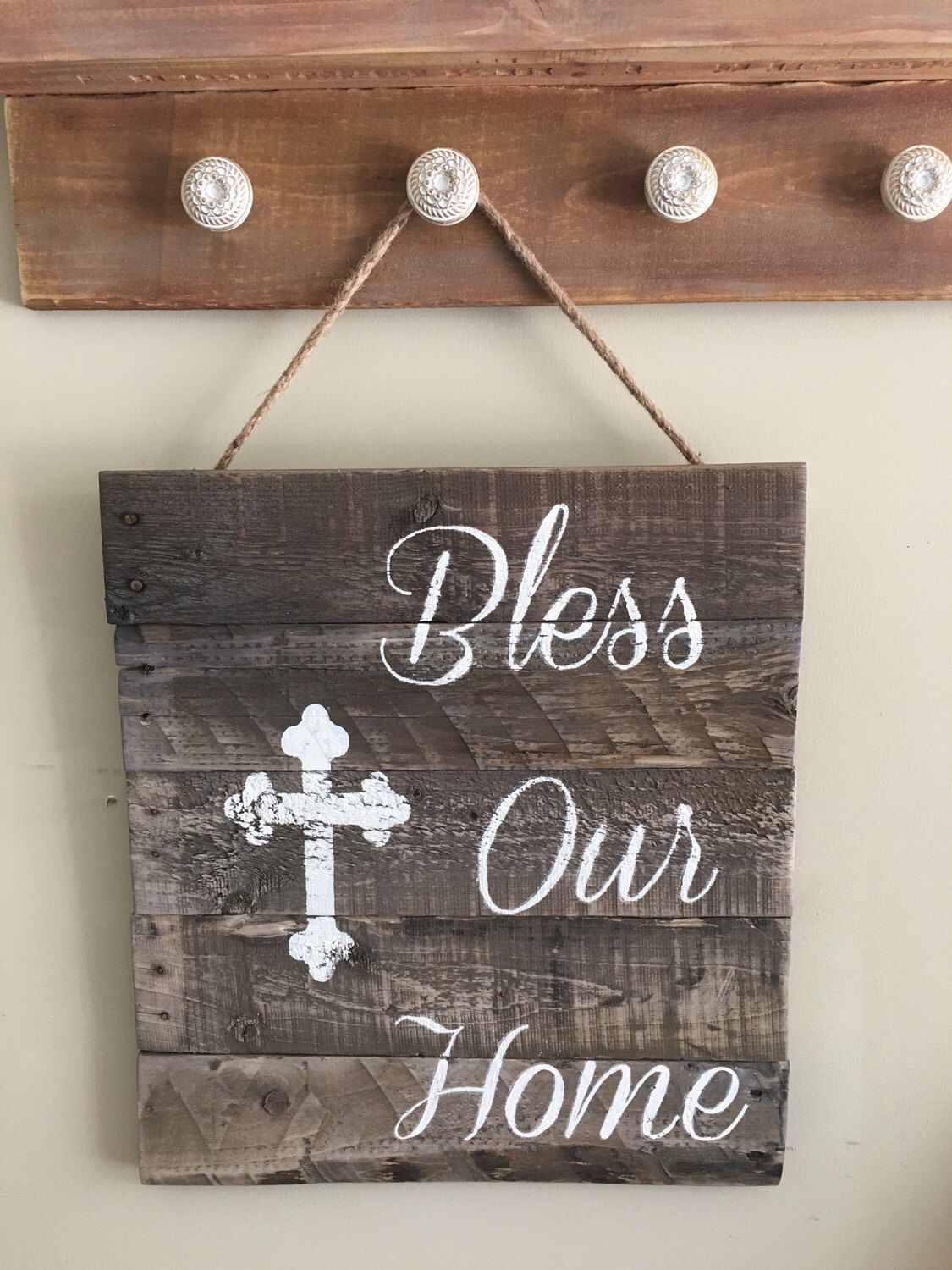 Bless our home tistic sign/wooden sign/indoor outdoor wooden sign/cross sign/rustic decor