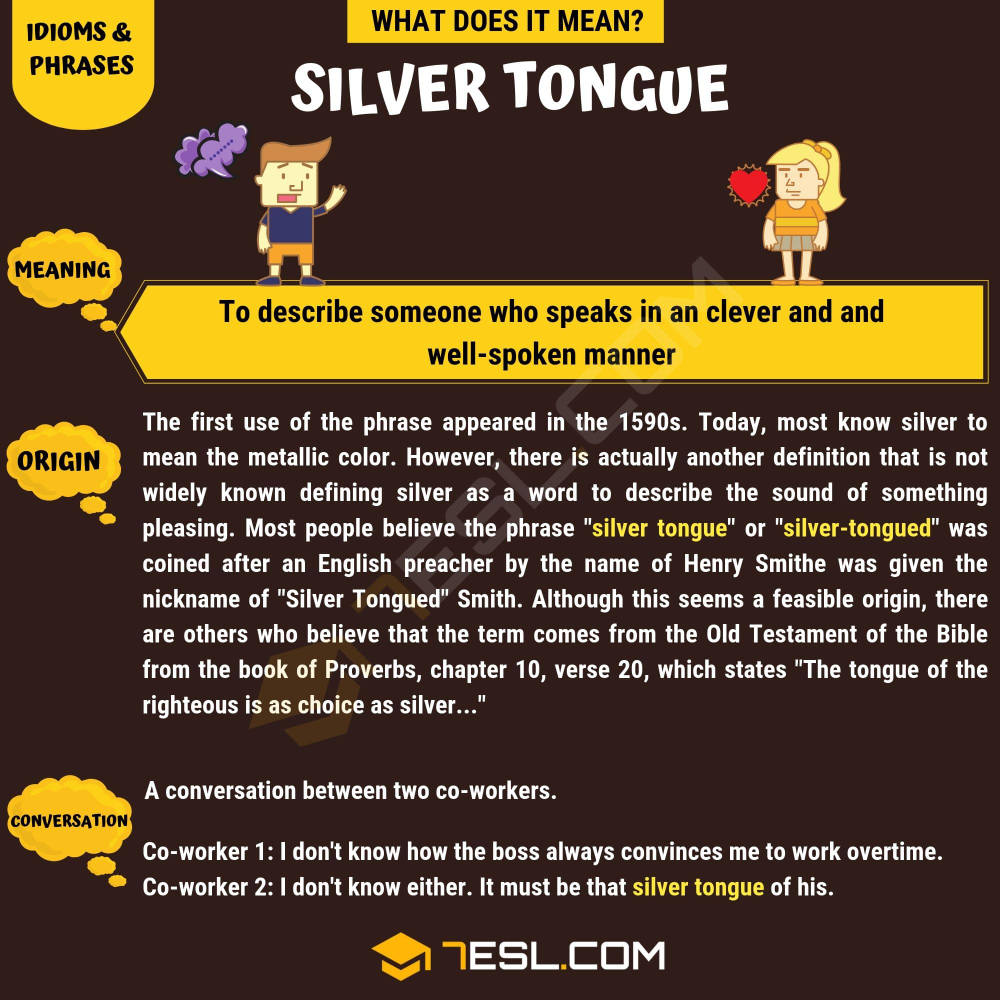 An Arm And A Leg Idiom Meaning In Urdu Silver Tongue What Does Silver Tongue Mean With Useful Examples 7 E S L Idioms And Phrases Mentor Texts Word Families