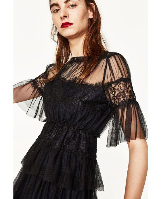 Image 4 De Robe En Tulle Et Dentelle De Zara Shopping List En 2019