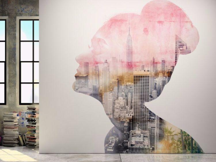 Moderne Tapete mit Skyline in romantischen Farben - tapeten und farben