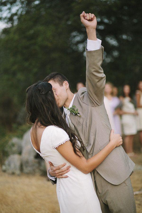 Fist pump, plus wedding kiss!
