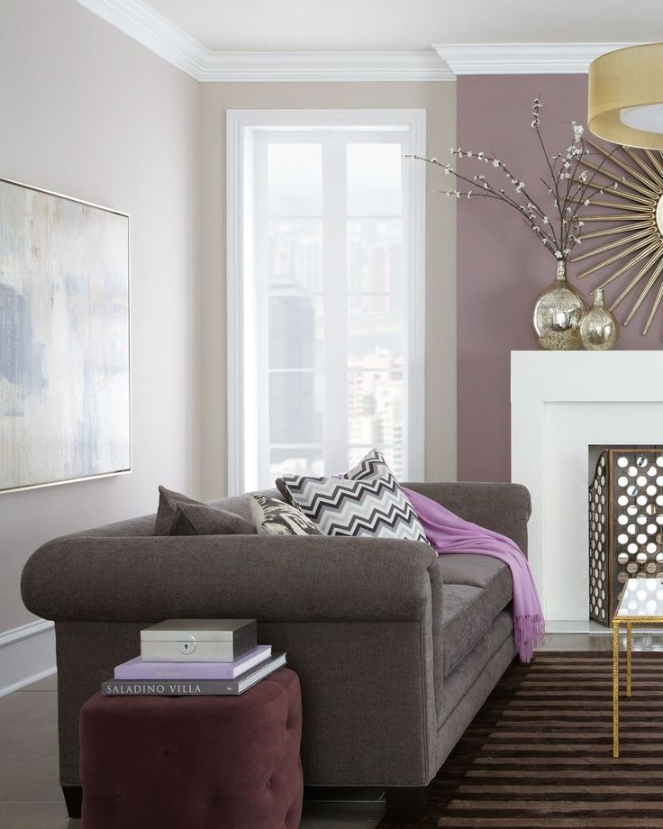 Purple living room living rooms pinterest cream for One bedroom living room ideas