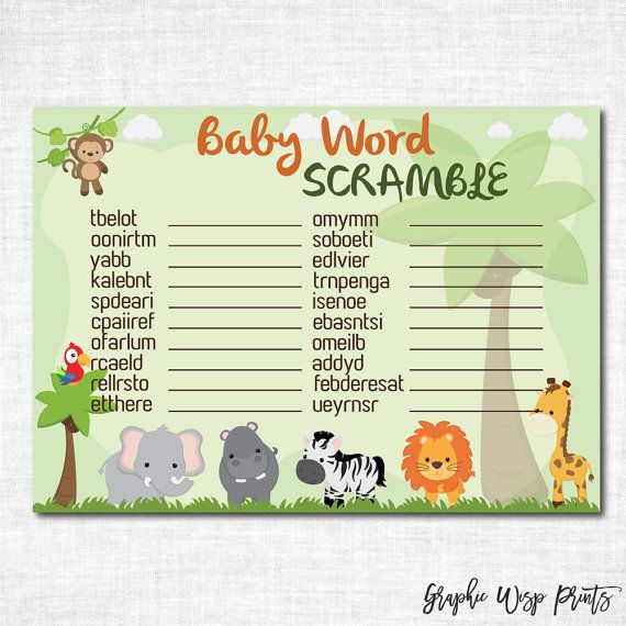 Jungle Baby Shower Games Word Scramble cards