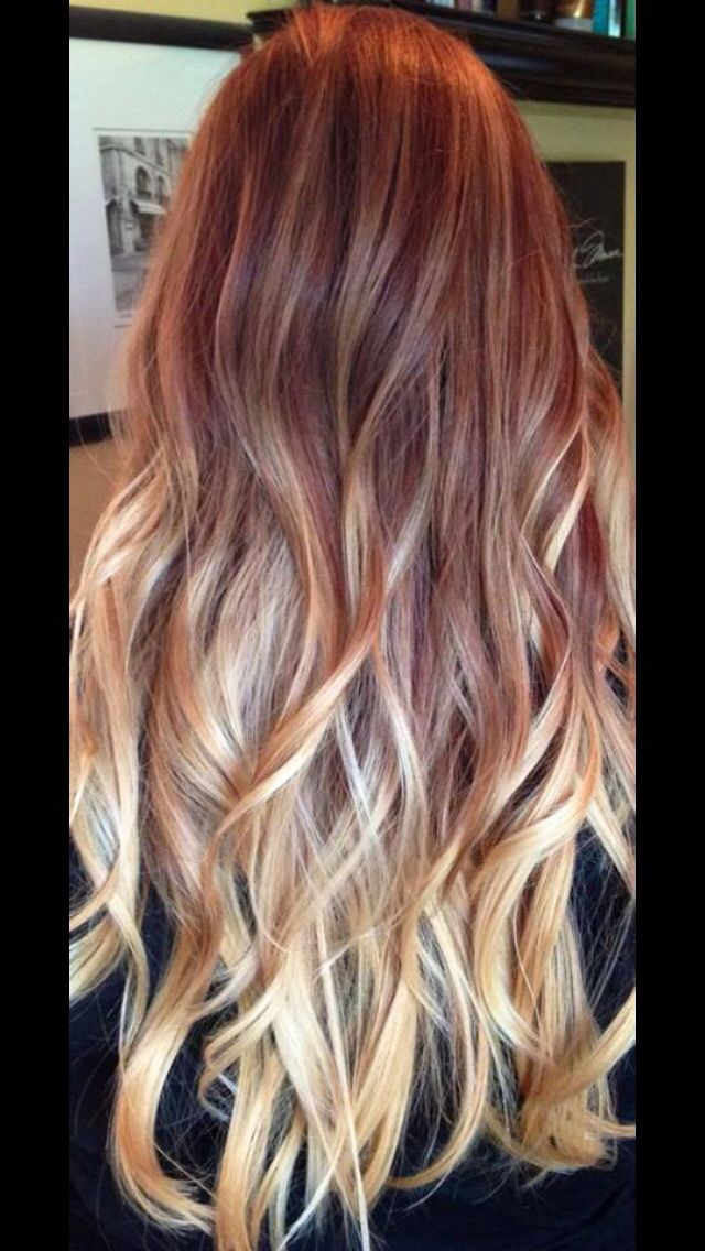 Red To Blonde Ombré Burgundy Hair Ombre