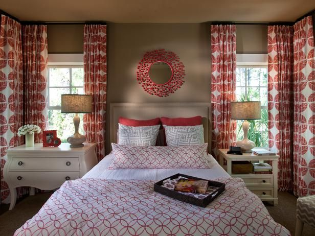 Burnt Coral, Gray and White Bedroom in HGTV Smart Home 2013 (http://www.hgtv.com/designers-portfolio/room/eclectic/bedrooms/10450/index.html?soc=Pinterest)