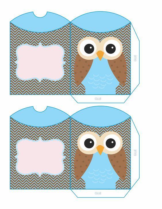 blue owl box paper Pillow Box, Owl, Box
