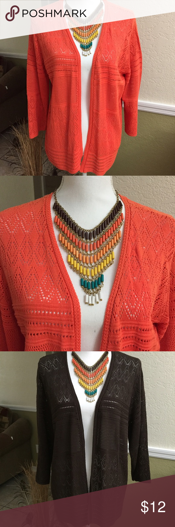 Alfred Dunner Cardigan Gorgeous orange cover up, only used once, to big for me, excellent condition, also have a brown and teal color available, please specify color when ordering, see pictures #3 & #4. Alfred Dunner Sweaters Cardigans