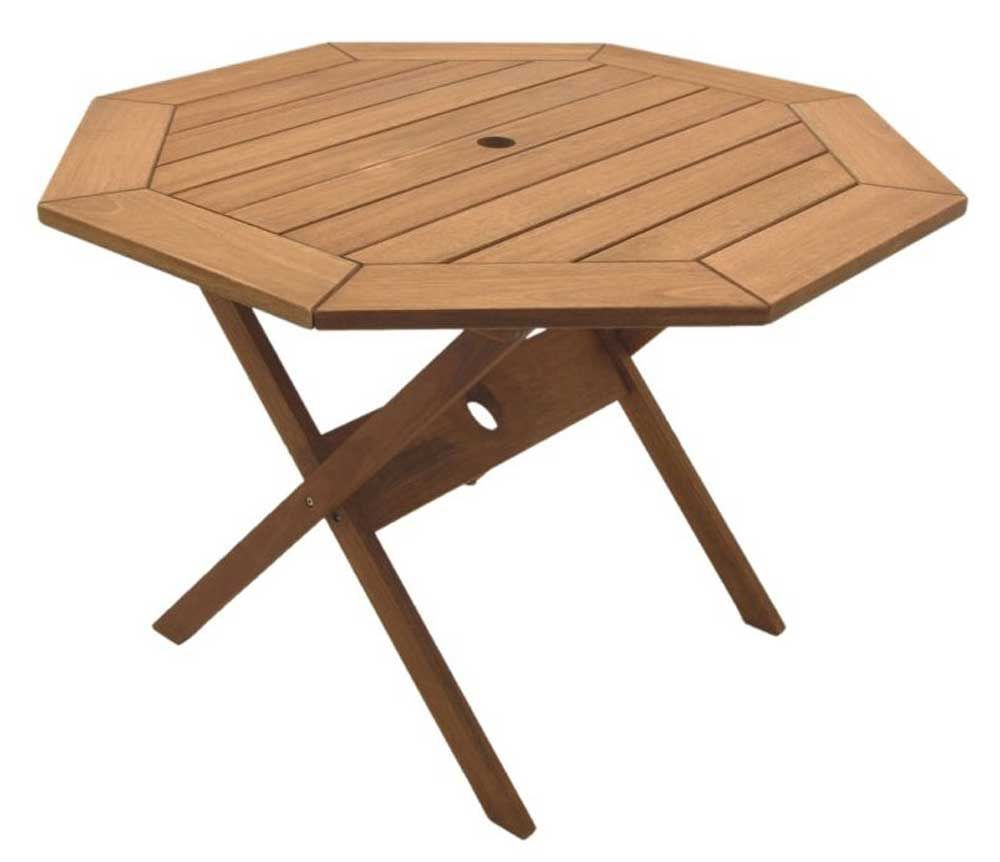 Octogonal eucalyptus wood patio folding table office desk