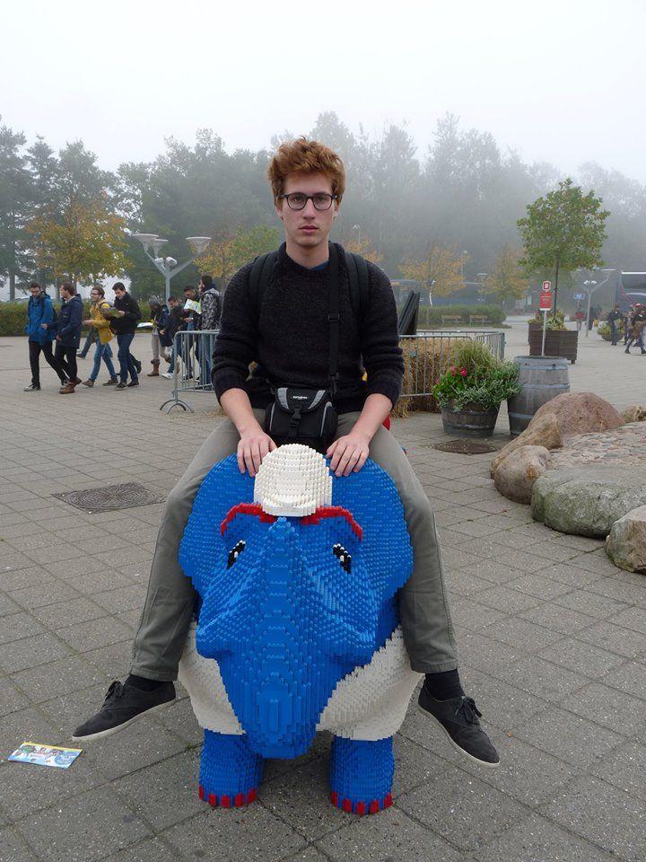 PsBattle: Man riding a Lego rhino.