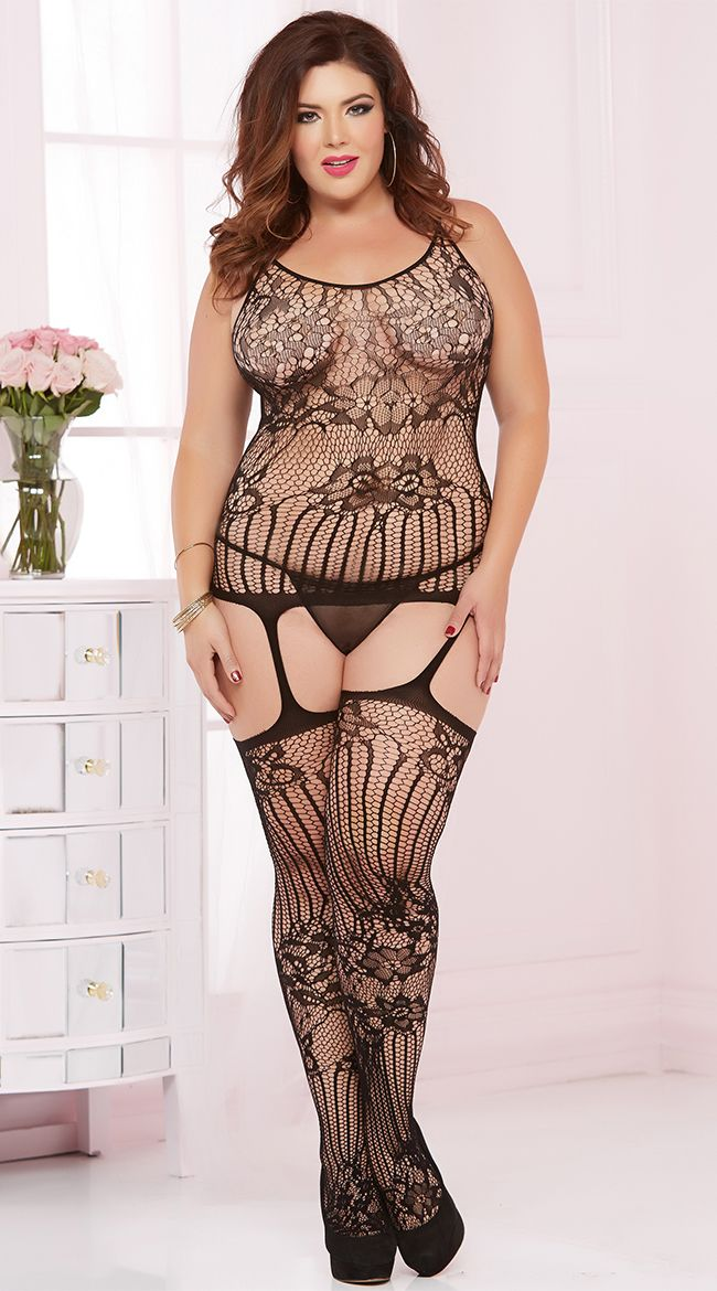 ec82adee9ea Plus Size Sheer Lace and Fishnet Bodystocking