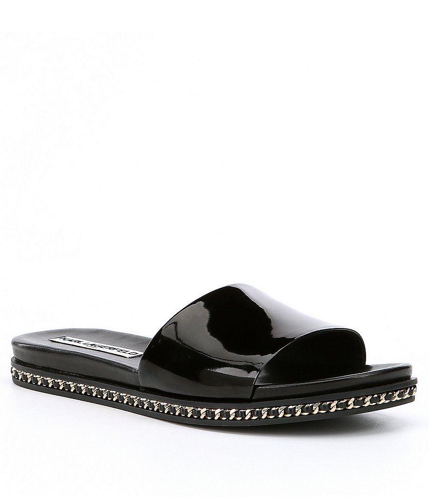 f4845c7e74b KARL LAGERFELD PARIS Billi Patent Leather Chain Detail Slip-On Flat Sandals
