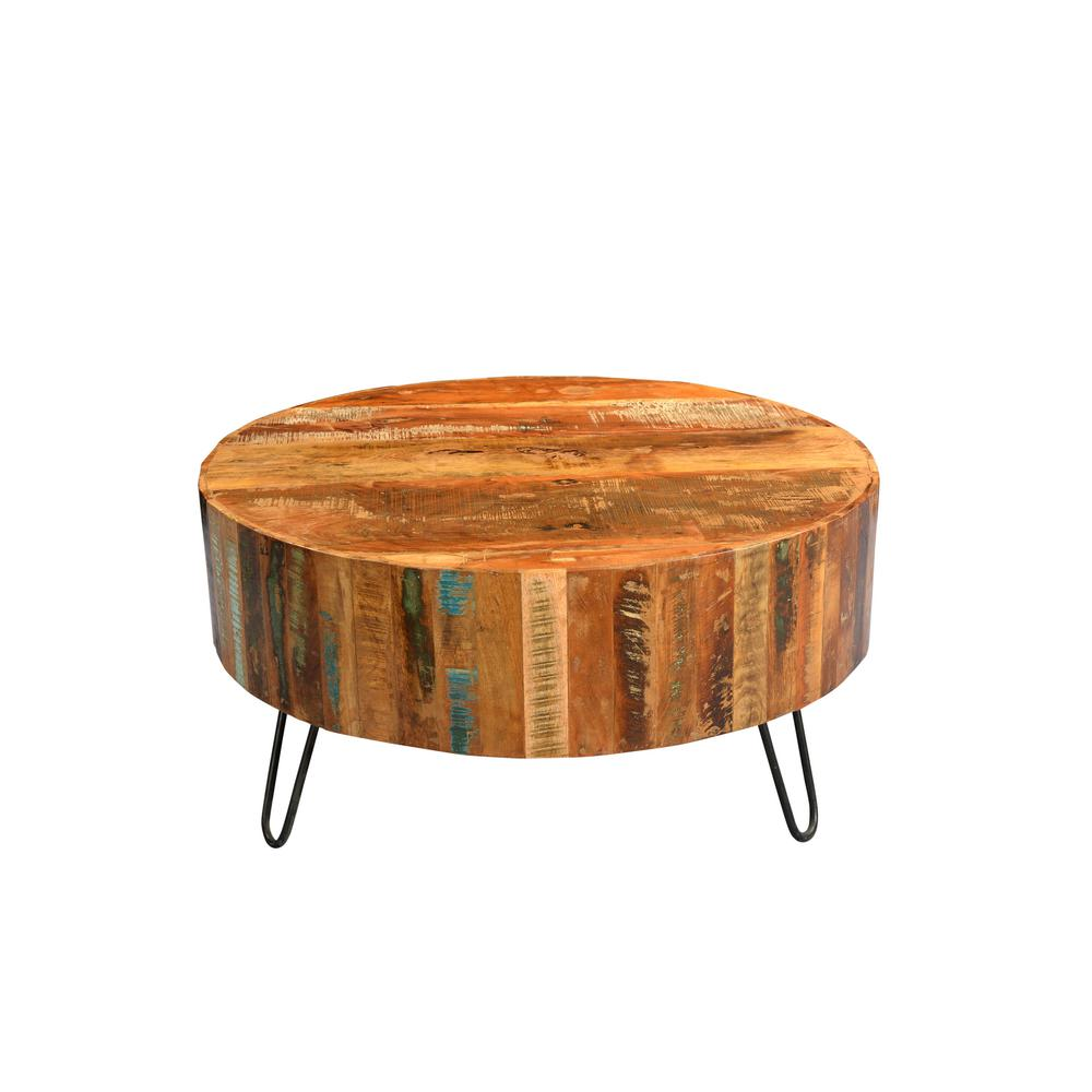 Tulsa Multi Colored Reclaimed Wood Round Coffee Table With Hairpin Legs 05 114 01 1091a The Home Depot Round Wood Coffee Table Coffee Table Wood Colorful Coffee Table [ 1000 x 1000 Pixel ]