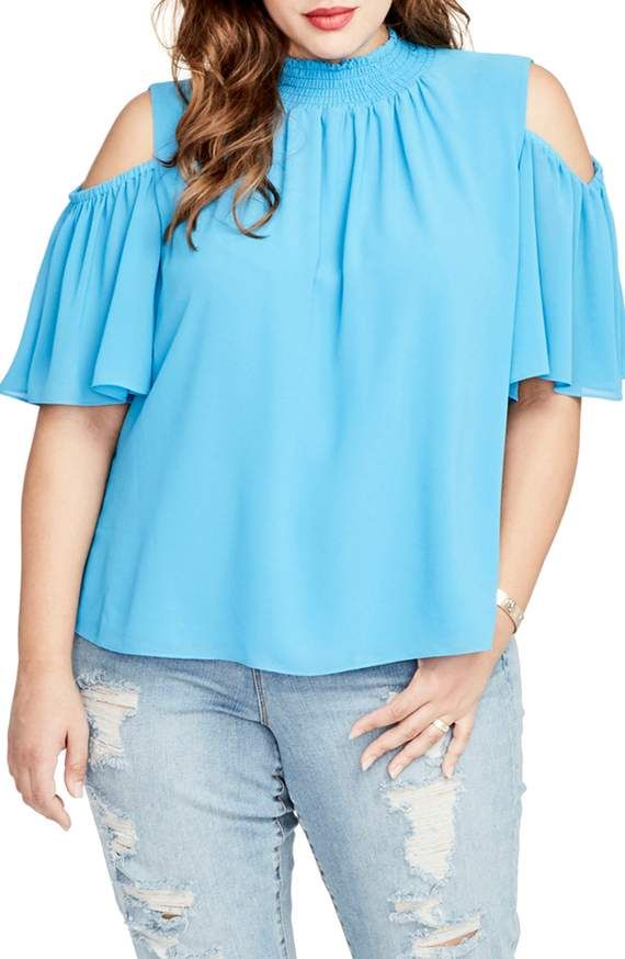 71c06a8fad6b4 Smocked cold shoulder too by Rachel Roy Plus Size Tops