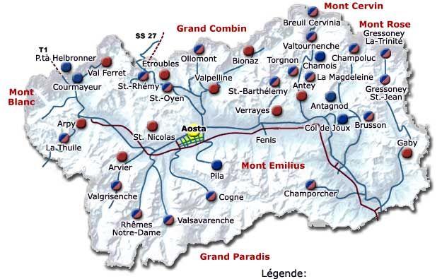 Cartina Valle D Aosta Stradale.Valle D Aosta Cartina Impianti Di Risalita Buon Viaggio Viaggio Zaino In Spalla