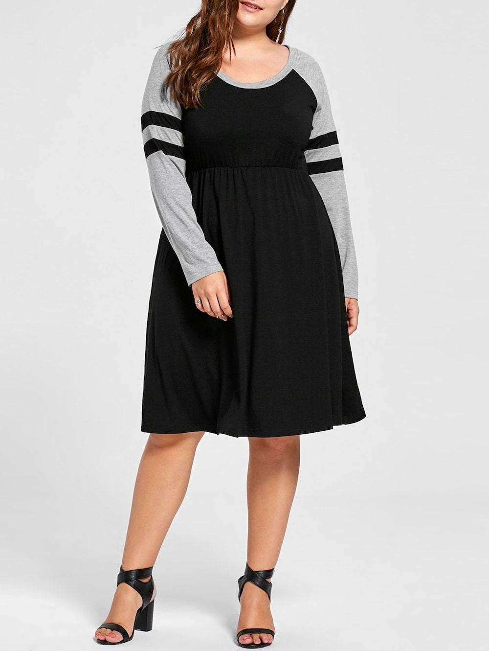 Plus Size Long Sleeve Skater Dress Black Church Clothes And Long