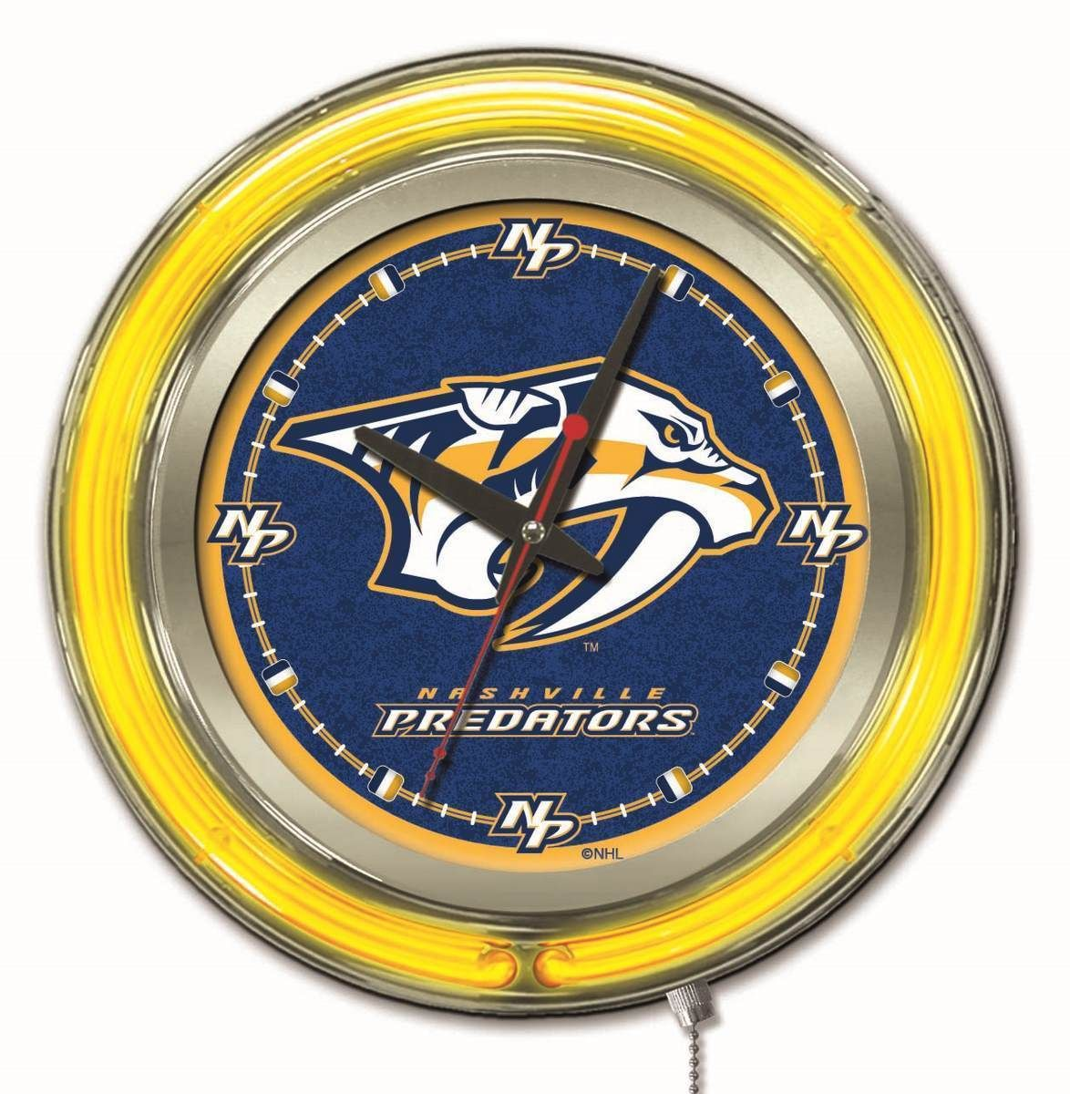 20477df1a Nashville Predators HBS Neon Yellow Hockey Battery Powered Wall Clock (15