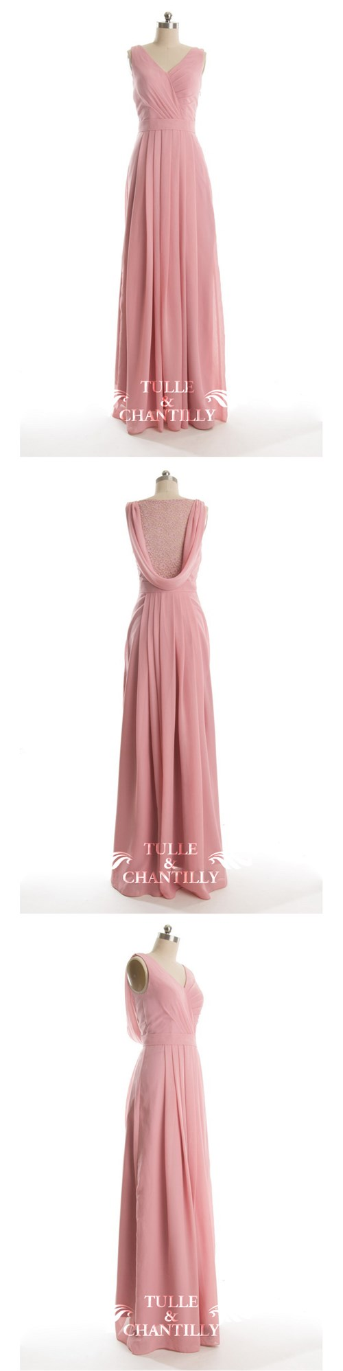 Vintage Long Dusty Pink V-neck Lace Bridesmaid Dress with Illusion ...