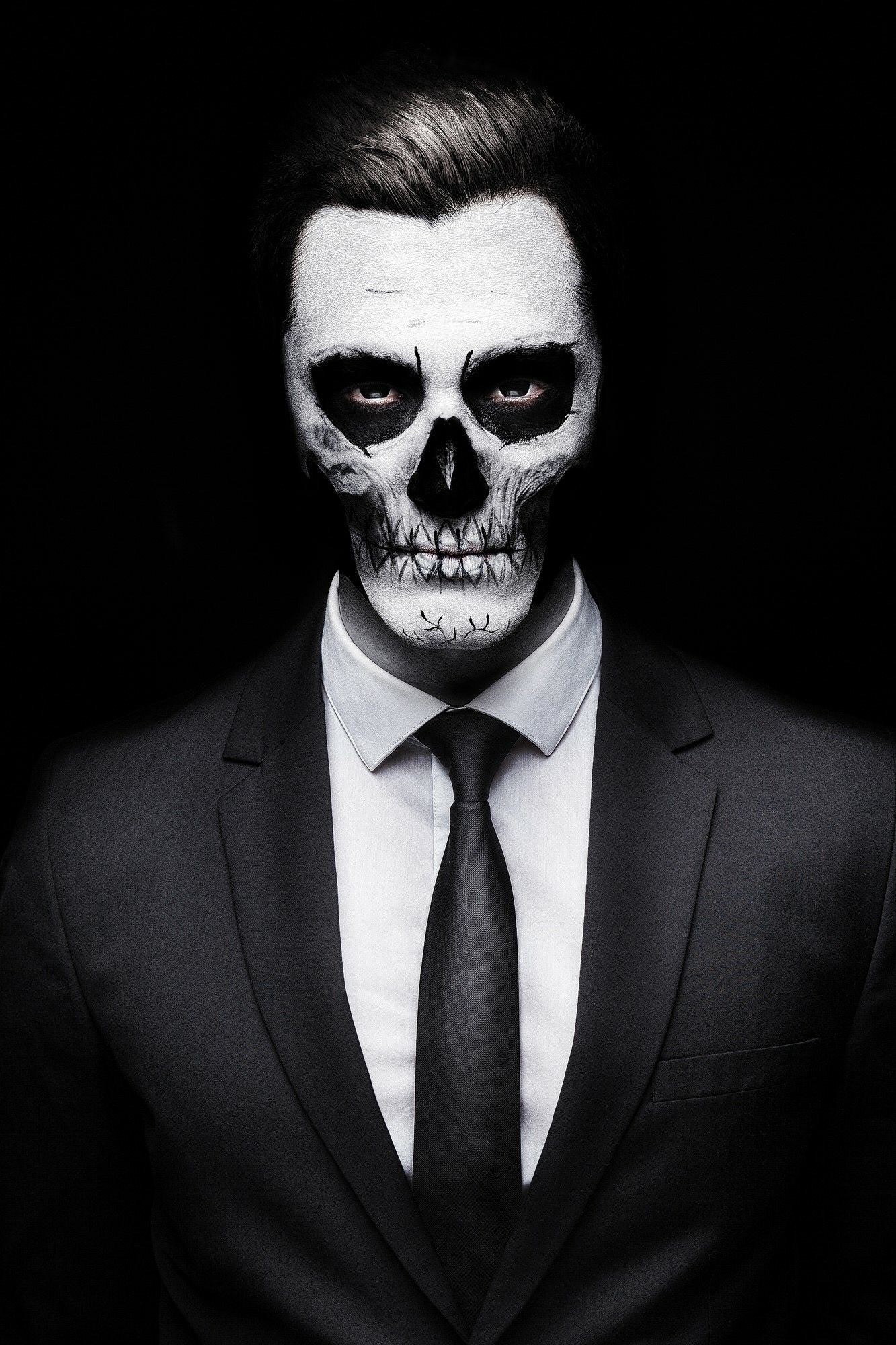 guy with skeleton face wearing a suit men animals in. Black Bedroom Furniture Sets. Home Design Ideas