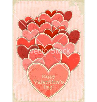 Retro valentines day card with hearts vector on VectorStock®