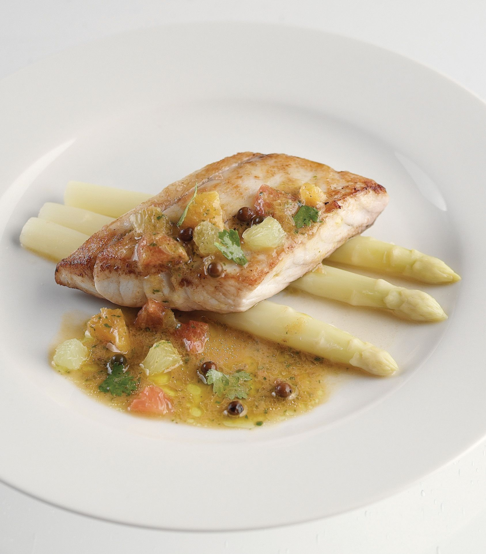 Pan Roasted Barramundi, White Asparagus, Citrus ...