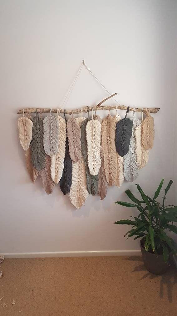 Feather Wall Macrame Hanging Macrame Diy Craft Et Tenture