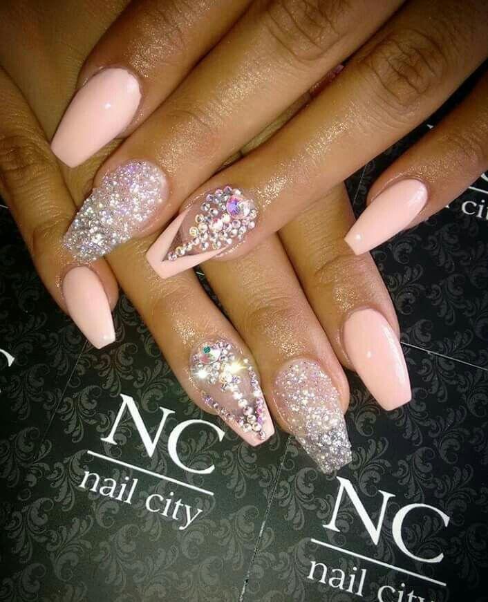 Nc Nail City Rhinestones Peach Peach Nails Pink Tip Nails Nails